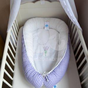 Levendula, lila, hímzéses babafészek, normál méret