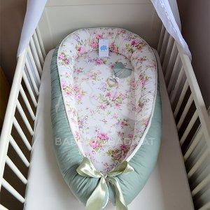 Angol rózsás, virágos, exkluzív, XL-es babafészek