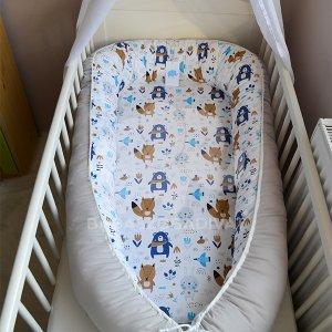 Skandináv maci, nyuszi, róka, fiú XXL-es babafészek, kivehető fekvőfelülettel