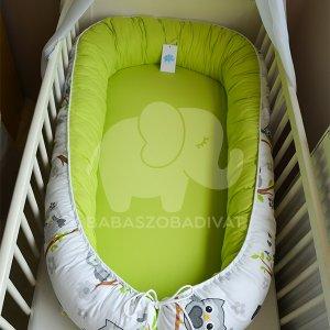 Szürke baglyos-kivizöld XXL-es babafészek, kivehető fekvőfelülettel