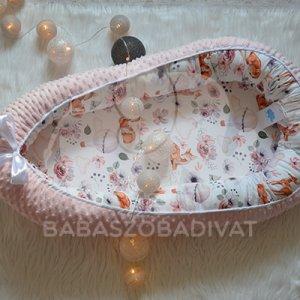Őzikés, hőlégballonos, rózsás, PRÉMIUM, XL-es babafészek rózsaszín minkyvel