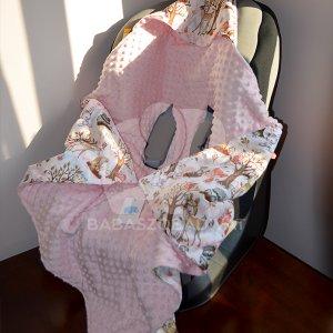 Őzikés-rózsíszín babakocsi takaró